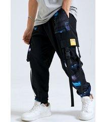 hombre casual galaxy print ribbon diseño cordón carga pantalones