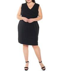 alexia admor women's plus kylie v-neck side ruched dress - black - size 2x (18-20)