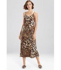 natori luxe leopard gown pajamas / sleepwear / loungewear, women's, chestnut, size l natori