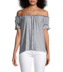 chelsea & theodore women's elastic ruffled blouse - navy ivory - size l
