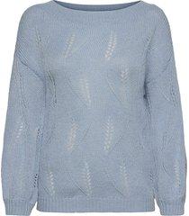 visouta l/s boat neck knit top/l stickad tröja blå vila