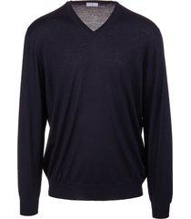 fedeli man navy blue v-neck pullover