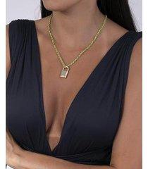 colar verde com pingente gray - feminino
