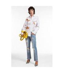 camisa manga longa de algodão com estampa localizada branco