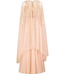 v-neck beaded embroidered gown with cape