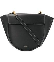 wandler bolsa tote com detalhe de pespontos - preto
