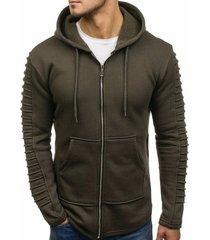 solid sleeve pleated design pocket zipper fleece hoodie