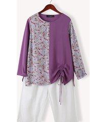 camicetta casual manica lunga con coulisse o-collo con stampa floreale patchwork