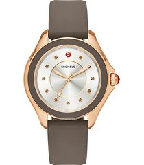cape smokey quartz, rose goldtone stainless steel & silicone strap watch/taupe
