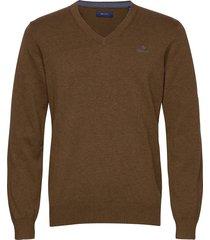 classic cotton v-neck stickad tröja v-krage brun gant