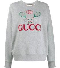 gucci tennis motif embroidered sweatshirt - grey