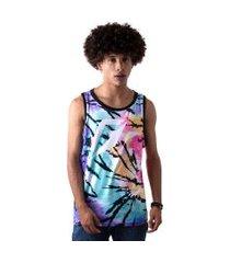 camiseta regata masculina overfame tie dye tigrado md39