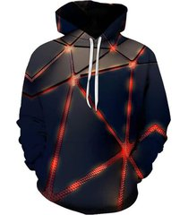 3d geometric pattern front pocket casual hoodie