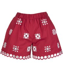red valentino red shorts with white sangallo embroidery