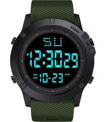 reloj digital led hombre deportivo tipo militar alarma 653 verde