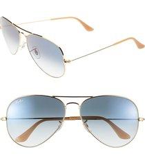 ray-ban large original 62mm aviator sunglasses - blue gradient