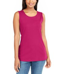karen scott cotton sleeveless split hem top, created for macy's