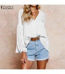 zanzea de las señoras de las tapas ocasionales de la manga larga suelta sólido camisa de la blusa del puente plus -blanquecino