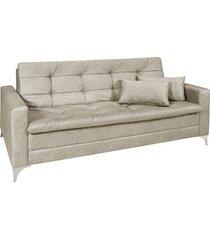 sofá cama 3 lugares facility reclinável mescla império estofados bege