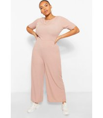 plus ribbed t-shirt jumpsuit, stone