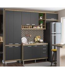 cozinha compacta completa multimã³veis com 4 peã§as sicãlia 5840 argila/grafite - bege/incolor - dafiti