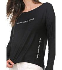 blusa lunender lettering preta - preto - feminino - viscose - dafiti
