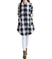 zanzea 2.018 mujeres bf forma de vestir de algodón a cuadros de manga larga ocasional buscado coincidencias dobladillo irregular de gran tamaño vestidos blusas vestido negro -negro