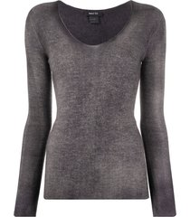avant toi fine knit long sleeve top - grey
