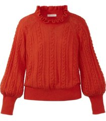 adyson parker women's ruffle neck cable sweater
