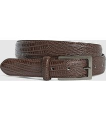 reiss moro - patent leather croc embossed belt in mid brown, mens, size 36