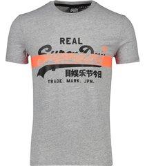 superdry t-shirt grijs gemeleerd opdruk