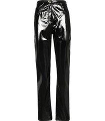alberta ferretti glossy biker trousers