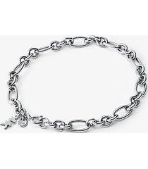 mk bracciale base con ciondolo in argento sterling con placcatura in metallo prezioso e maglie a catena - argento (argento) - michael kors