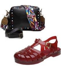 kit bolsa feminina transversal + sandalia emborrachada feminina - modelo aranha - feminino