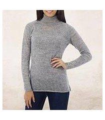 alpaca blend sweater, 'zigzag parallels' (peru)