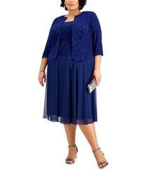 alex evenings plus size jacquard-top dress & matching jacket