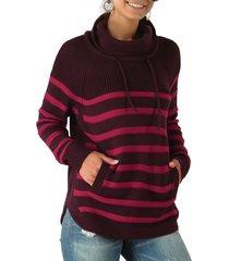 turtleneck striped raglan sleeve pocket sweater