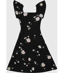 saco  banana republic ss sq neck matte jersey knit fnf print black floral
