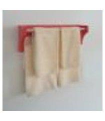 toalheiro duplo suporte cabideiro porta toalhas de parede acessório para banheiro vermelho laca