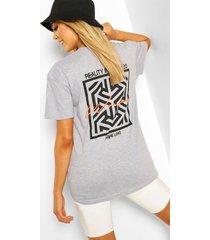 woman geo print t-shirt, grey marl