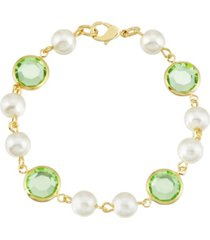2028 gold-tone imitation pearl with light green channels link bracelet