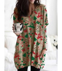 camicetta allentata casual da donna con scollo a v manica lunga stampa natalizia