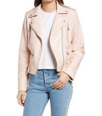 women's levi's faux leather moto jacket, size xx-large - pink