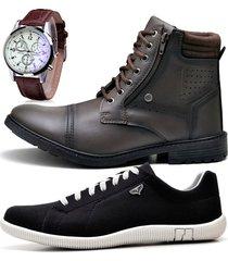 2 pares bota coturno adventure e sapatênis casual com relógio zaru 560-900mr preto