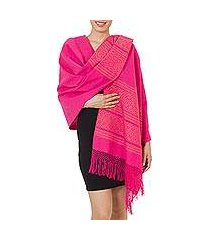 zapotec cotton rebozo shawl, 'hot pink zapotec treasures' (mexico)