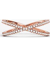 mk anello componibile in argento sterling con placcatura in metallo prezioso e pavé - oro rosa (oro rosa) - michael kors