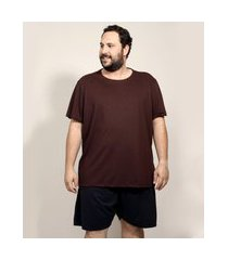 pijama masculino plus size manga curta marrom