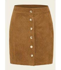 falda de ante de cintura media con botones marrones yoins