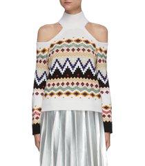 'lara' cut out shoulder turtleneck fairisle sweater