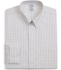 brooks brothers regent regular fit windowpane dress shirt, size 17.5 - 35 in brown at nordstrom